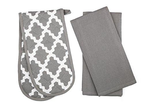 Penguin Home - 3 teiliges Ofenhandschuh- und Geschirrtuch Set - 100% Baumwolle Stilvolles Design & Farbe - Weich, langlebig und extrem saugfähig - Maschinenwaschbar - Gemusterte Grau