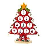 Pulchram Árbol de Navidad de Madera DIY, Colgantes de Navidad Decoraciones Soporte de Árbol de Navidad Desmontable con Adornos Navideños en Miniatura (Rojo, M)
