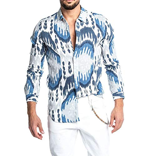 SLYZ Autumn Men's Autumn Gentleman Lapel Printing Long-Sleeved Men's Shirt Blue