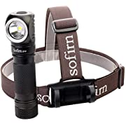 LED Headlamp, Sofirn SP40 Rechargeable 1200 Lumen Brightest Torch, CREE XP-L led 4000K 18650 battery and USB Cable Inserted Head Lamp for Camping, Hiking, Running, etc