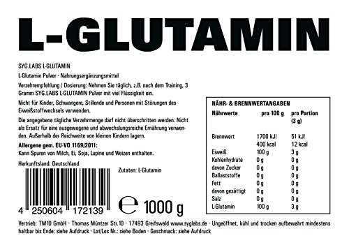 SygLabs Nutrition L-Glutamin Pulver, 1er Pack (1 x 1 kg) - 2