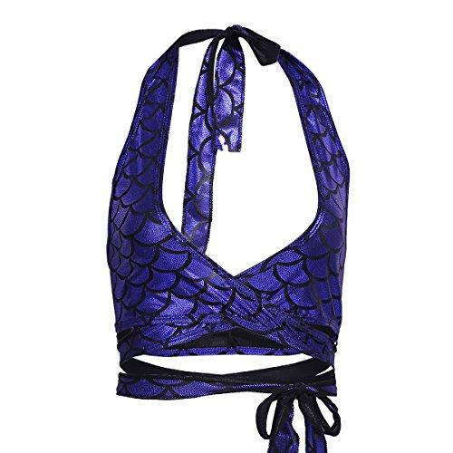 iiniim Damen Bademode Neckholder Bikini Top Meerjungfrau Fisch-Skala Strand Bikini Tankini Oberteile Dunkel Blau Freie Größe