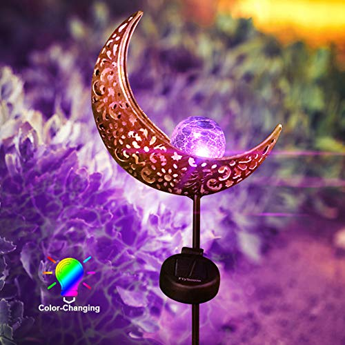 Flyhoom Color Changing Moon Solar Lights Outdoor, Solar Powered Garden Crackle Glass Globe Stake Metal Lights, Waterproof LED Path Lights, Solar Outdoor Decorations for Yard Patio Landscape Christmas