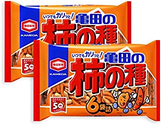 2 Packs Set of Kameda Kakinotane Rice Cracker with Peanuts 6 packs: total 200g (7.05oz) x 2 (Ninjapo Wrapping)
