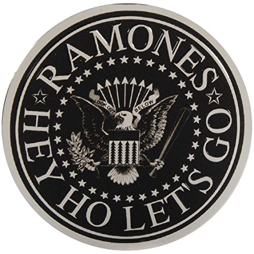 """The Ramones Seal on Silver Sticker, Original Licensed Symbol on Embossed Metal Sticker - Large 3.125"""" Inches"""
