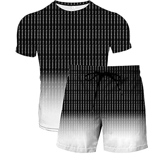 Conjunto de Camisa para Hombre Causal 2 Piezas Conjunto de Traje Vintage Ocio Estampado 3D Verano Camiseta de Manga Corta y Pantalones Cortos Conjunto Degradado de Rayas Negras XL