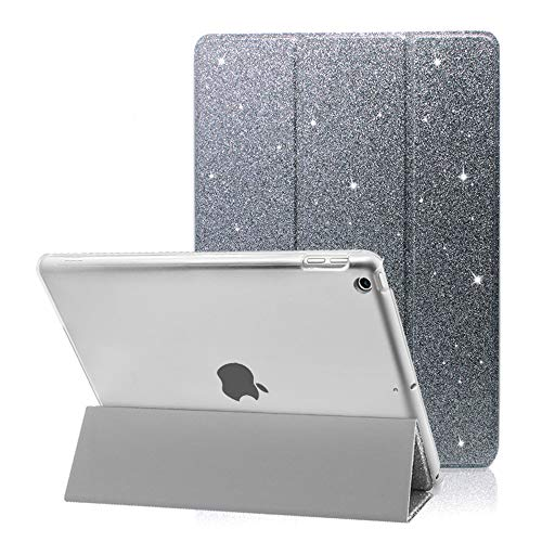 iPad 8 2020 Case,FANSONG iPad 10.2 7th 2019 Case, Bling Glitter PU Leather Magnetic Flip Trifold Stand Cover Sleep/Wake Lightweight Ultra Thin Case for Apple New iPad 7th/8th Generation 10.2-inch,Grey
