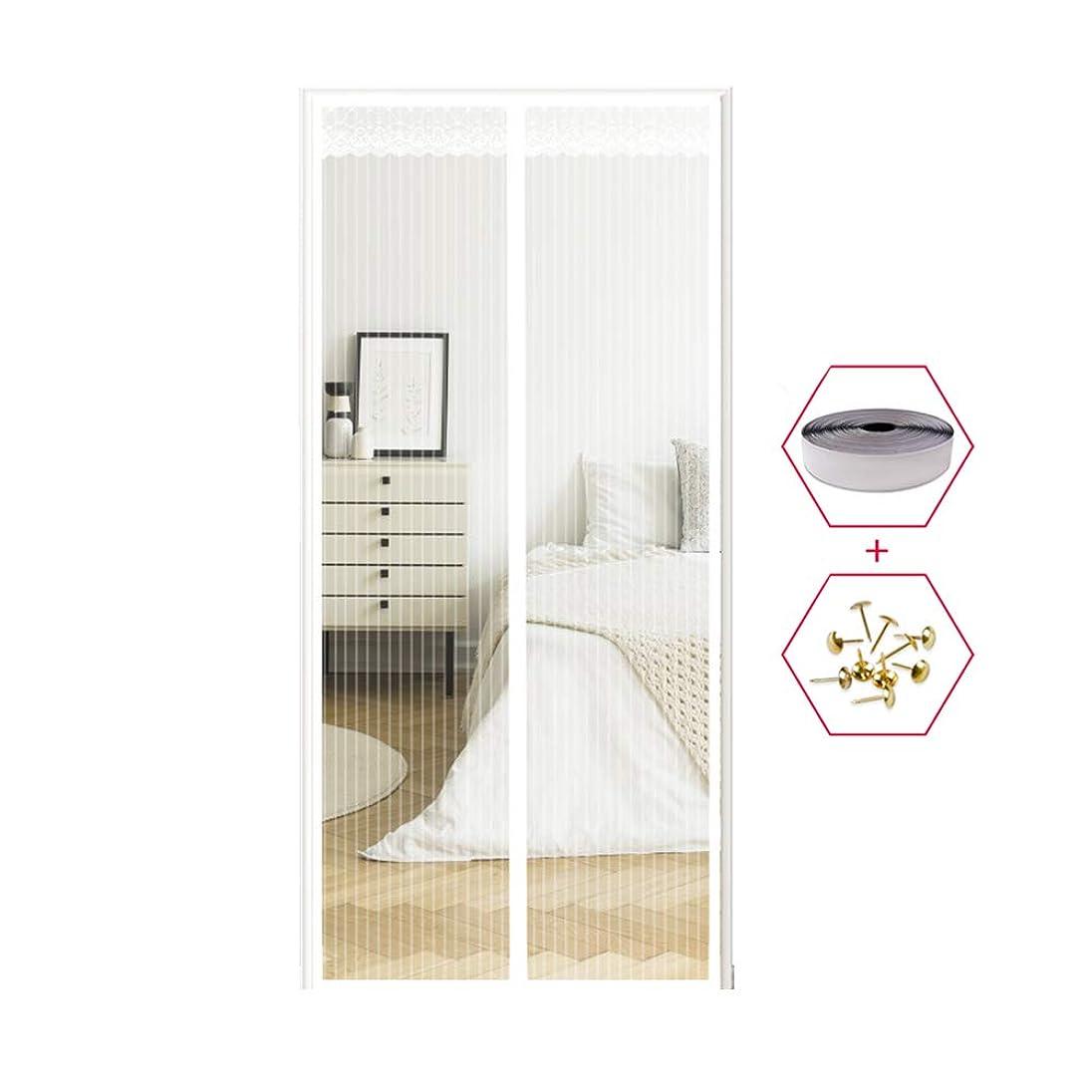 疑い属性ソロ磁気フライスクリーンドア印刷、強力な磁石とフルフレームマジックテープとヘビーデューティバグメッシュカーテン、昆虫保護ドアなしギャップ,White,90x210cm