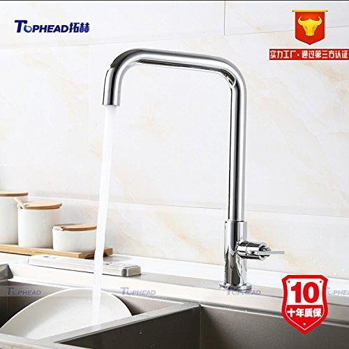 Hlluya Robinets Cuisine Bain Les robinets en Laiton Plat à Four Froid Unique lavabo Robinet d'eau manufacturée à Rotation Rapide,T04K5-2