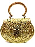 Embragues dorados Vintage hecho a mano de latón de metal monedero mano embrague bolso para el partido de las mujeres novia matrimonio embrague