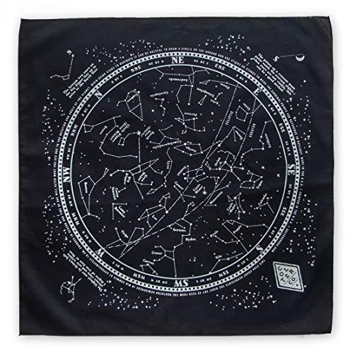 Stargazer Star Chart, Stargazer Survival Bandana with Glow in The Dark Ink | 100% Cotton Black Bandana, Constellation Star Chart, Made in The USA