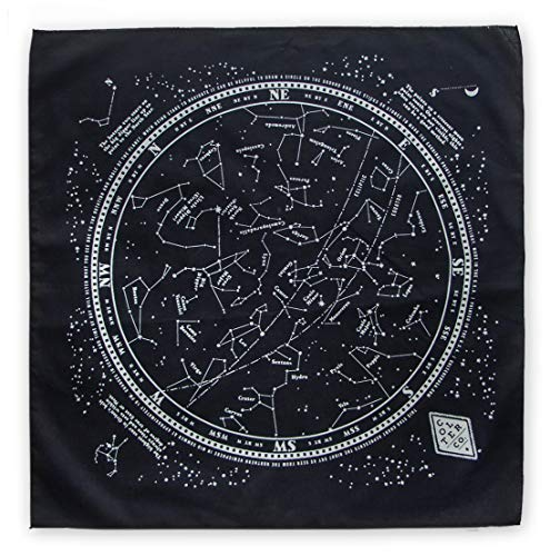 Star Chart Survival Bandana with Glow in The Dark Ink | 100% Cotton Black Bandana, Constellation Star Chart, Made in The USA