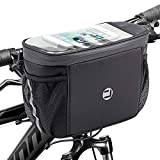 WOTOW Bike Handlebar Insulated Bag, Bike Front Phone Bag Cooler Storage Pouch with TPU Touch Screen Insulation Bicycle Frame Bag Strap On Cycling Accessories for Outdoor Hiking Travel Assistants