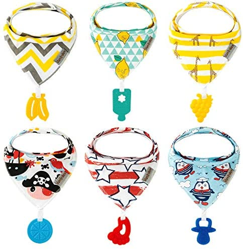 Baby Bandana Drool Bibs 6 Pack and Teething Toys 6 Pack Made with 100 Organic Cotton Absorbent product image