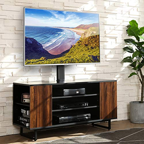 VASAGLE TV Stand for 55-inch TVs with Sliding Barn Doors, Entertainment Center and Media Console, TV Cabinet with Adjustable Storage Shelves, Industrial, Rustic Brown and Black ULTV46BX