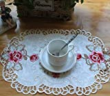 JINZHAO Placemat Coffee Embroidery Table Place Mat Cloth Doily Cup Tea Dining Wedding Coaster mug Drink Pad Kitchen,Beige and Rose Red,30X42CM