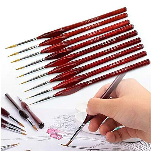 Juego de pinceles de artista premium Pincel de dibujo en miniatura juego de pinceles Set de pinceles de detalle para pinturas acrílicas pinturas al óleo miniaturas maquillaje infantil (9 pcs)