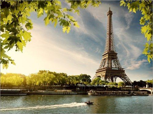 Posterlounge Acrylglasbild 80 x 60 cm: Eiffelturm am Fluss Seine, Frankreich von Editors Choice - Wandbild, Acryl Glasbild, Druck auf Acryl Glas Bild