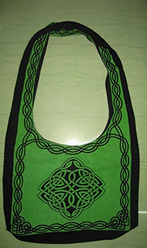 Handmade Cotton Celtic Hobo Bag for Shopping Work School Tote Flat Bottom 15x12 inches