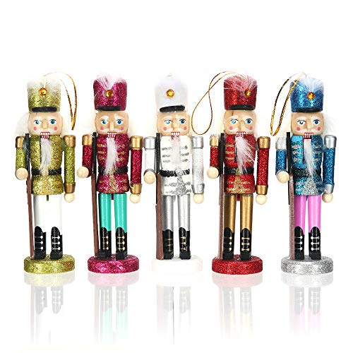 Lesgos Set of 5 Nutcracker Soldier Set, 6 Inch Tall Nutcracker Christmas Tree Hanging Decorations, Handmade Wooden Nutcrackers for Collection & Gifts