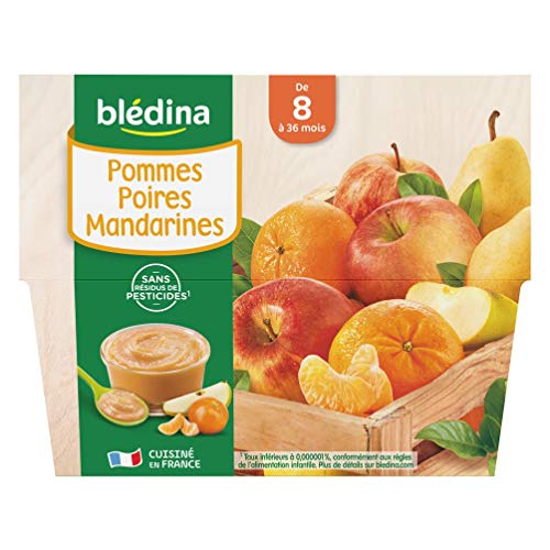 Blédina 4 Coupelles Pommes Poires Mandarines dès 8 mois