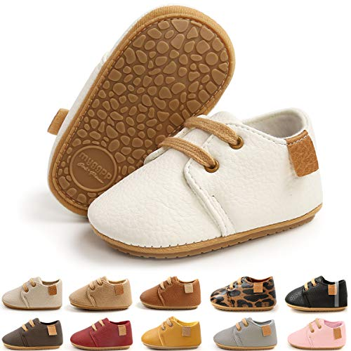 E-FAK Baby Boys Girls Dress Shoes PU Leather Soft Rubber Sole Oxford Newborn Sneakers Toddler Anti-Slip Infant Moccasins Loafers First Walker Crib Shoes(01 White, 0-6 Months)