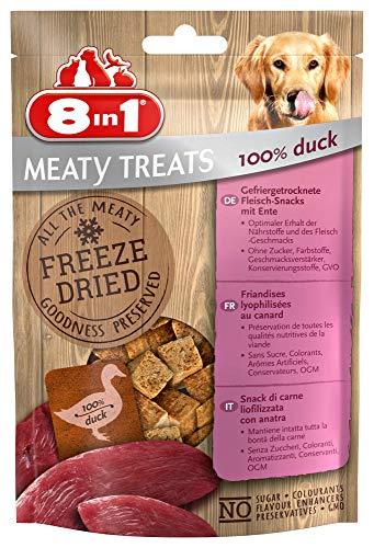 8in1 Meaty Treats, vriesgedroogde honden lekkerlis, vrij van drijvende dranken en zonder suiker (1 zak, 50 g), Eend