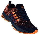 Bootsland Neon Herren Turnschuhe Sneaker Sportschuhe Laufschuhe 066, Schuhgröße:44, Farbe:Schwarz/Orange