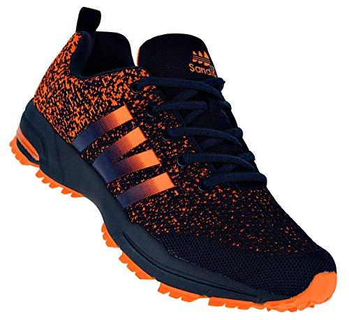 Bootsland Neon Herren Turnschuhe Sneaker Sportschuhe Laufschuhe 066, Schuhgröße:43, Farbe:Schwarz/Orange