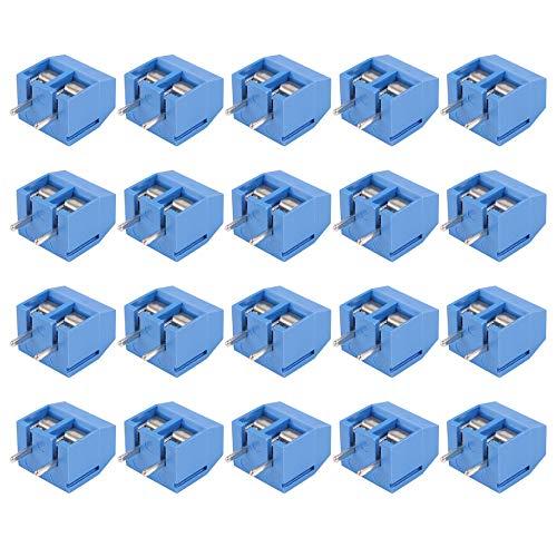 Quata Connettore a 2 poli con morsetto a vite, griglia 5,08 mm, montaggio su circuiti stampati, 20 pezzi