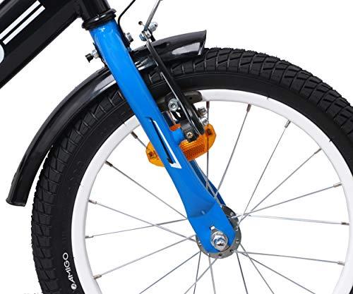 amiGO BMX Fun – Kinderfahrrad – 16 Zoll – Jungen – mit Rücktritt und Stützräder – ab 4 Jahre – Schwarz/Blau - 3