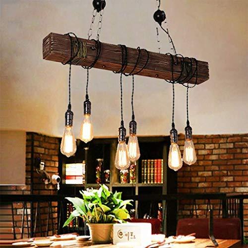 Retro Pendelleuchten Industriestil Vintage Hängelampe Aus Holz Und Metall Kronleuchter E27 * 6 Hähenverstellbar Hängelampe Kitchen Dining Wohnzimmer Loft Rustikale Decke Droplight Pendellampe