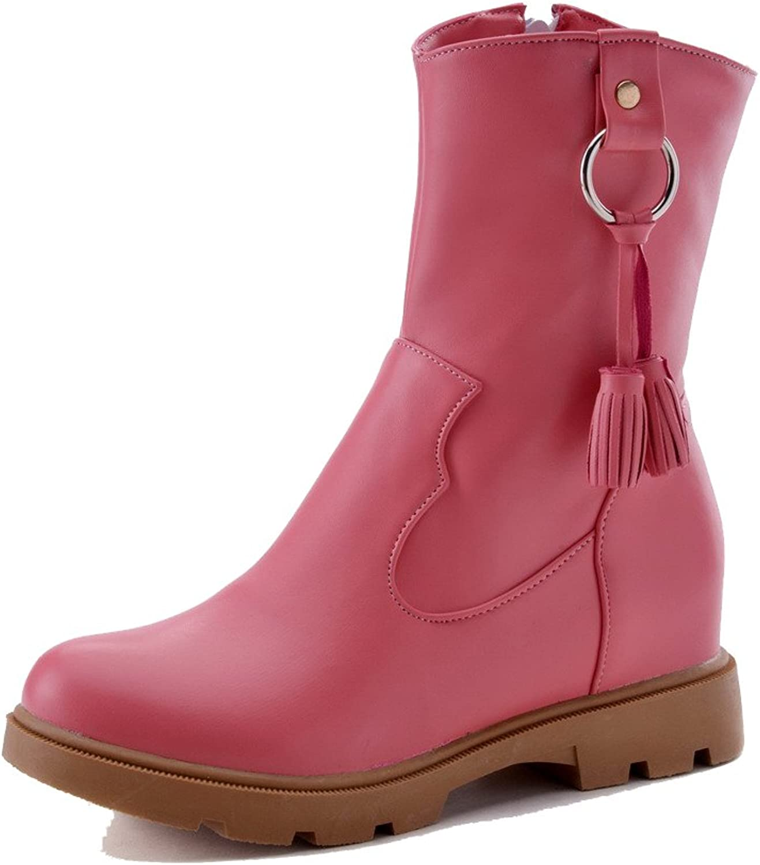 WeenFashion Women's Low-Heels Soft Material Low-Top Solid Zipper Boots