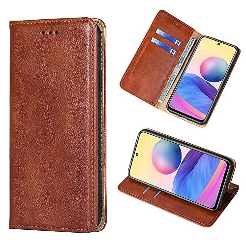 Yiunssy Hülle Kompatibel mit Xiaomi Redmi Note 10 5G / Poco M3 Pro 5G, Lederhülle PU Leder Flip Tasche Klappbar Handyhülle mit [Kartenfächer], Cover Schutzhülle für Redmi Note 10 5G - Braun