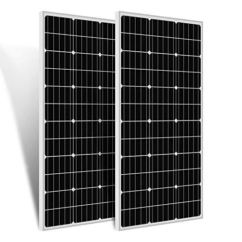 ECO-WORTHY Module solaire monocristallin 2 x 100 W 12 V mono cellule photovoltaïque pour camping-car, abri de jardin, bateau