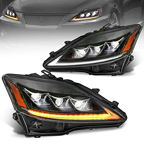 MOSTPLUS Full LED Projecctor Headlight Compatible for Lexus IS 350 IS 250 2006-2012 IS 220d IS F Model w/sequential turn light | Amber Reflector (Set of 2)