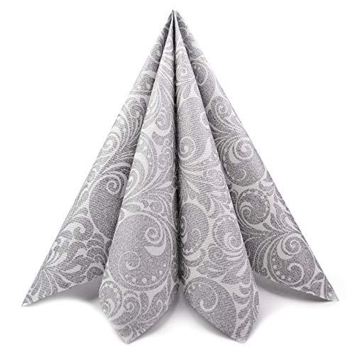 finemark 100 Stück Papierservietten Gemustert in Silber 40 x 40 cm (0,17€/Stück) Servietten Tissue 3-lagig 1/4 Falz Hochzeit Dinner Geburtstag festlich