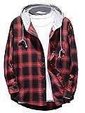 Mallimoda Uomo Camicia a Quadri Manica Lunga Casual Felpe con Cappuccio Rosso XL