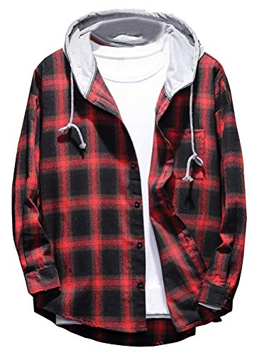 Lavnis Men's Plaid Hooded Shirts Casual Long Sleeve Lightweight Shirt Jackets Red M
