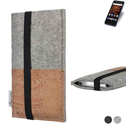 flat.design Handy Hülle Sintra für Allview X4 Soul Mini S Handytasche Filz Tasche Schutz Kartenfach Case Kork