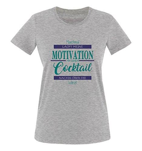 Comedy Shirts - Manchmal läuft Meine Motivation mit einem Cocktail nackig über die Wiese - Damen T-Shirt - Graumeliert/Türkis-Lila Gr. L
