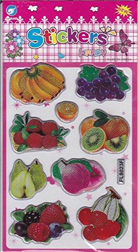 by soljo 3D Fruits Decal Autocollant de décalque 1 Dimensions de la Feuille: 16 cm x 8 cm