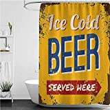 """Interestlee Man Cave Shower Curtains, Vintage Worn Out Rusty Sign Design Ice Cold Beer Served Here Beverage Print Grommets Curtain for Bath Showers Bathtub, 72"""" x 84"""""""