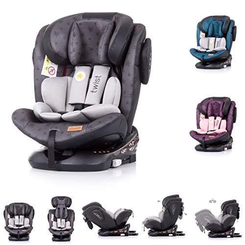 Chipolino Kindersitz Twist 0-36 kg Gruppe 0+/1/2/3, Isofix, drehbar, Top Tether, Farbe:grau