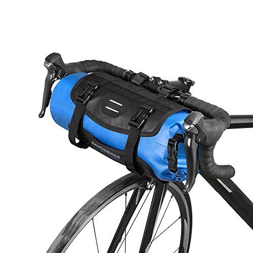 Lixada Bicicleta Bolso Impermeable Ciclismo Mountain Road MTB Bicicleta Delantero Marco Manillar Maleta Seca con Cierre (Azul)