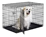 New World 48' Double Door Folding Metal Dog Crate, Includes Leak-Proof Plastic Tray; Dog Crate Measures 48L x 30W x 33H Inches, Fits XL Dog Breeds