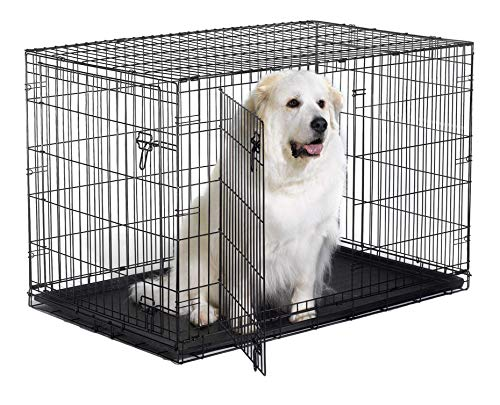 """New World 48"""" Double Door Folding Metal Dog Crate, Includes Leak-Proof Plastic Tray; Dog Crate Measures 48L x 30W x 33H Inches, Fits XL Dog Breeds"""
