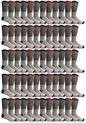 Yacht & Smith Mens Womens & Kids Thermal Socks, Bulk Pack Thick Warm Winter Boot Extreme Weather Socks, by SOCKS'NBULK (60 Pairs (Mens) 10-13)