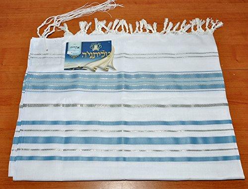 Talitnia Acryl Tallit Schal hellblau & Silber Modell 50