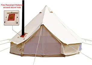 PlayDo 4-Season Waterproof Cotton Canvas Bell Tent Wall Yurt Tent with Stove Hole for..